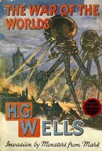 """Bibliotekarer i krig mod science fiction-fans? Forside fra en 1913-udgave af H.G. Wells """"War of the worlds""""."""
